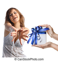 A girl reaching out for men's hands holding a present on white bacground