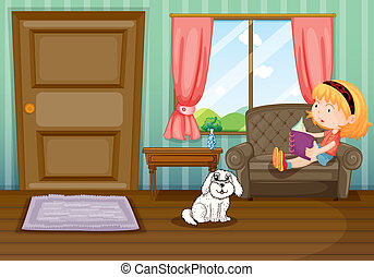 A girl reading a book with a dog - Illustration of a girl...