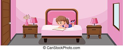 A girl reading book in bed