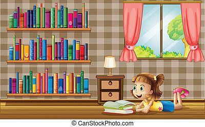 A girl reading books near the window - Illustration of a...