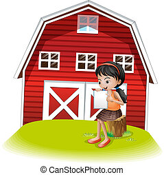A girl reading in front of the barnhouse