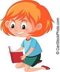 A girl reading on white background