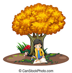 A girl reading under the tree