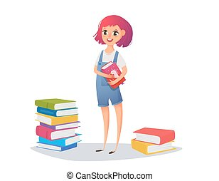 A girl reads a fairy tale from a book. Schoolboy training activities and pre-school education. Vector illustration for a poster, website.