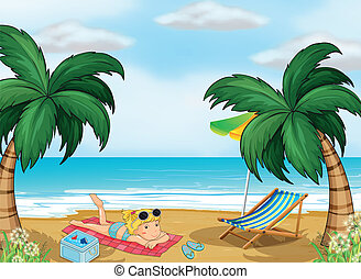 A girl relaxing at the beach - Illustration of a girl...