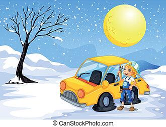 A girl repairing a car - Illustration of a girl repairing a ...