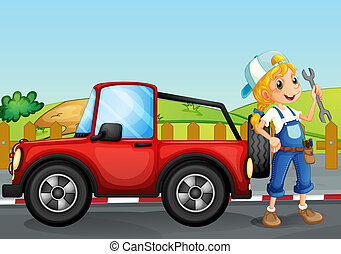 A girl repairing the red jeep