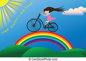 A girl rides a bicycle on rainbow to the sun in vector