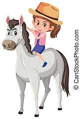 A girl riding horse