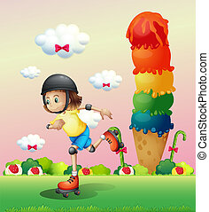 A girl rollerskating at the candyland - Illustration of a...