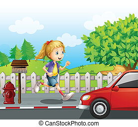 A girl running along the road