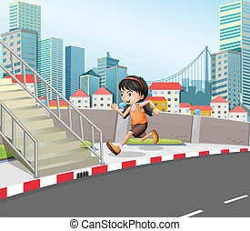 A girl running at the street near the stairs
