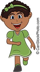 A girl running cartoon