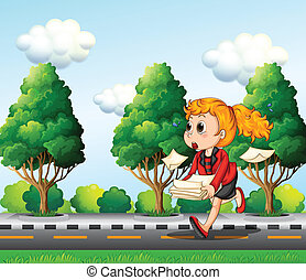 A girl running hurriedly while carrying a pile of papers