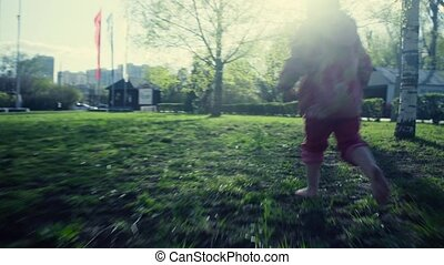 A girl running in the park