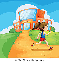 A girl running near the school
