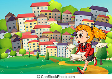 A girl running so fast while carrying documents