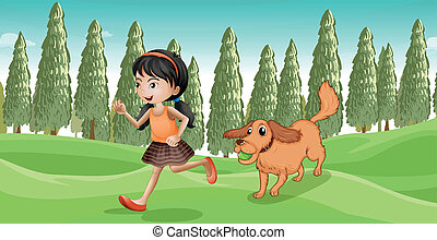 A girl running with her dog