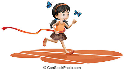 A girl running with two blue butterflies