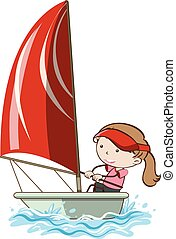 A Girl Sailing on White Background