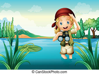 A girl scout at the lake