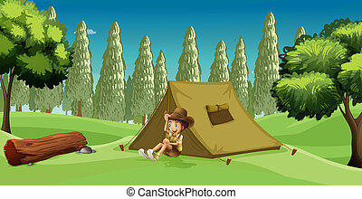 A Girl Scout - Illustration of a girl scout camping in the...