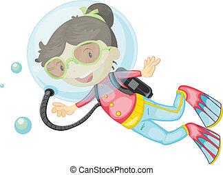 A girl scuba diving - Illustration of a girl scuba diving on...