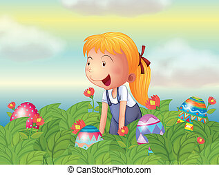 A girl seeing eggs in the garden