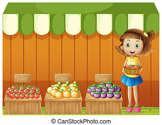 A girl selling different fruits