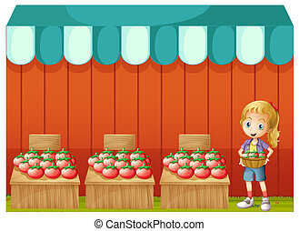 A girl selling tomatoes