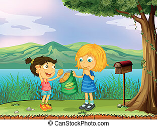 A girl sharing her bread near a mailbox - Illustration of a...