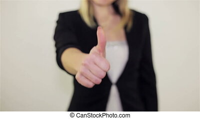 A girl shows a gesture of approval, Full HD