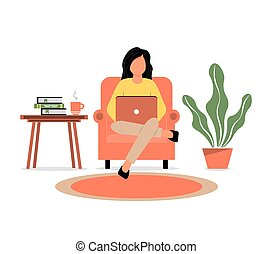 A girl sits in a chair and works on a laptop. Home Office. Work at home or freelance. A young woman is studying at home. Freelancer lifestyle. Vector illustration in a flat style.