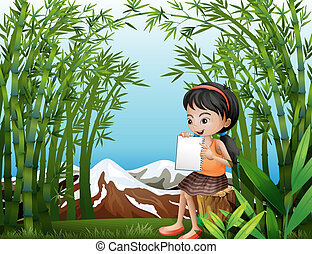 A girl sitting above a stump at the bamboo forest