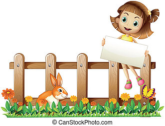 A girl sitting at the fence with an empty board