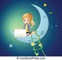A girl sitting at the moon while holding an empty signage