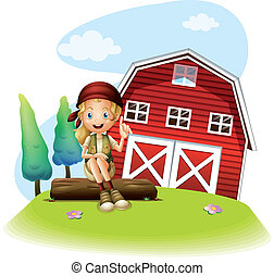 A girl sitting in front of a red barnhouse - Illustration of...