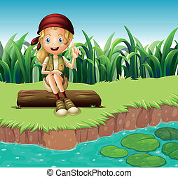 A girl sitting on a wood along the river