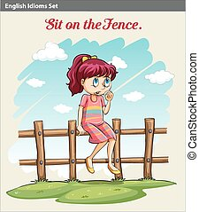 A girl sitting on the fence