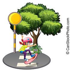 A girl skateboarding near the big tree