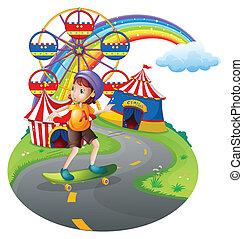 A girl skateboarding near the carnival