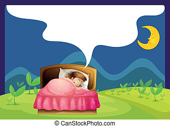 A girl sleeping in a bed