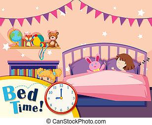 A girl sleeping in bedroom