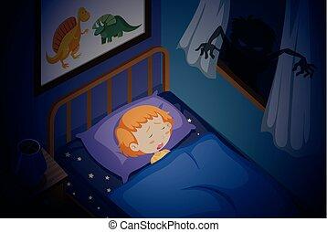A girl sleeping nightmare