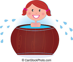 A girl soaking in cold barrel tub after sauna - Cute smiling...
