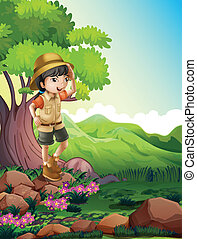 A girl standing above the rock near the giant tree