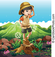 A girl standing above the stump across the mountains