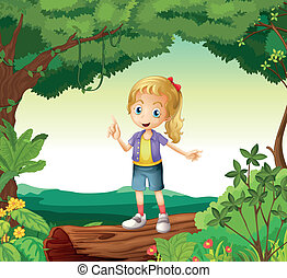 A girl standing on a dry wood