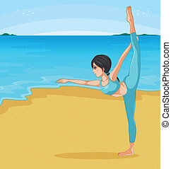 A girl stretching at the beach - Illustration of a girl...