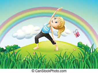 A girl stretching at the top of the hill with a rainbow -...